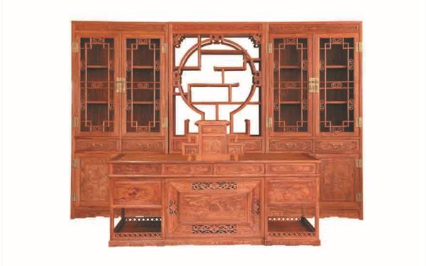 非洲花梨书房五件套组合--威海威诺森木业有限公司