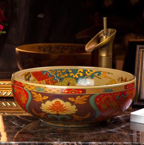景德镇陶瓷艺术台盆 酒店洗手盆 中式古典圆形台上盆--上海搜瓷宝工艺品有限公司