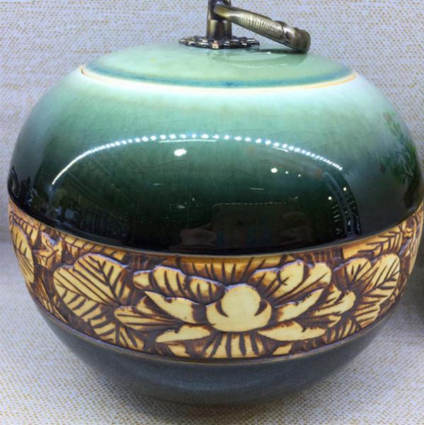 景德镇纯手工雕刻复古茶叶罐 颜色釉窑变铁环密封罐--上海市黄浦区友红陶瓷商行