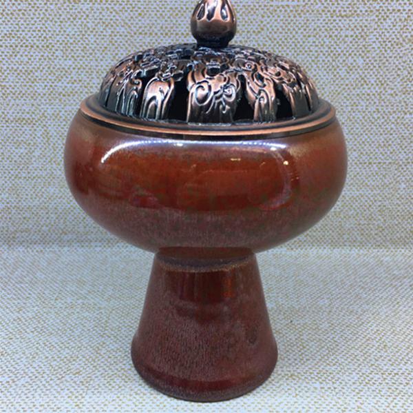 窑变手工香炉 铜盖季红陶瓷薰香炉--上海市黄浦区友红陶瓷商行