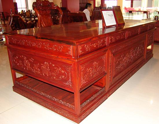 红木麒麟如意大班台2件套--瑞丽紫建红木家具厂