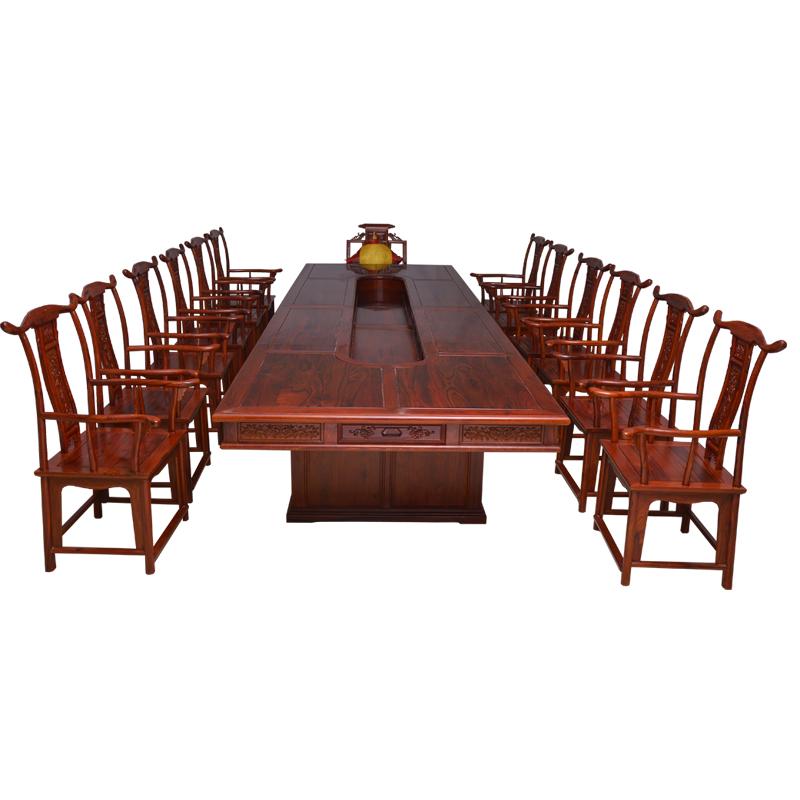 缅甸酸枝会议桌_仿古会议桌_明清古典办公4.9米会议桌--云南腾冲天林红木家具有限责任公司