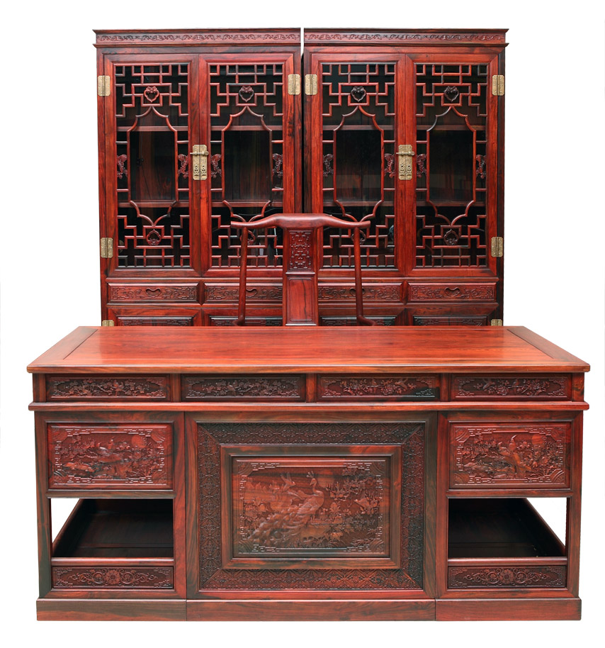 古典红木书房办公书桌--瑞丽襄德红木家具厂