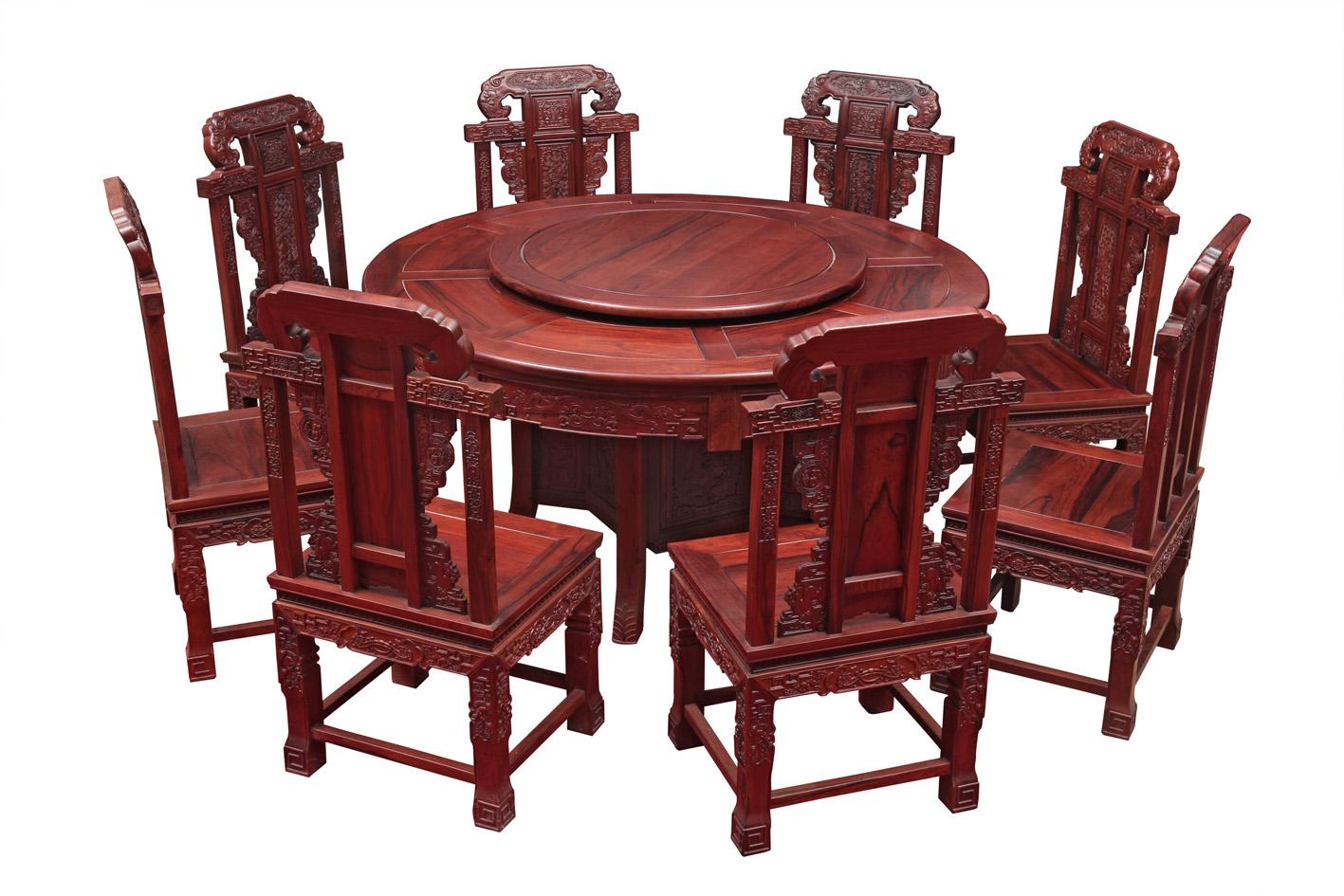 红木雕花圆桌_古典红木素面雕花圆桌餐桌九件套