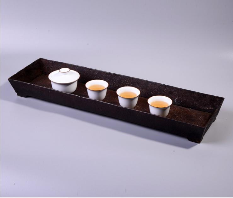 文庄枯山水铁器茶道摆件 花器 花槽 茶具收纳--昆明市盘龙区周艺工艺品店