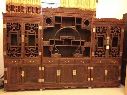 缅甸 大果紫檀 书房3件套--天津林庆阁红木馆