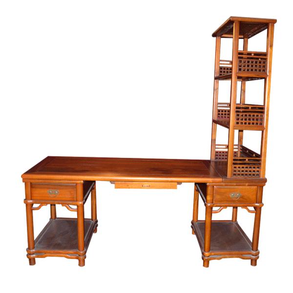 楠木书桌(带书架)--重庆古楠轩木雕家私有限公司