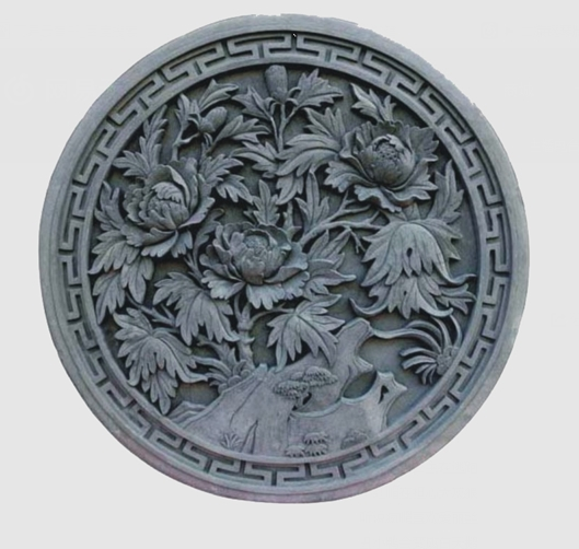 圆形砖雕富贵牡丹--天水秦韵古建园林景观工程有限公司