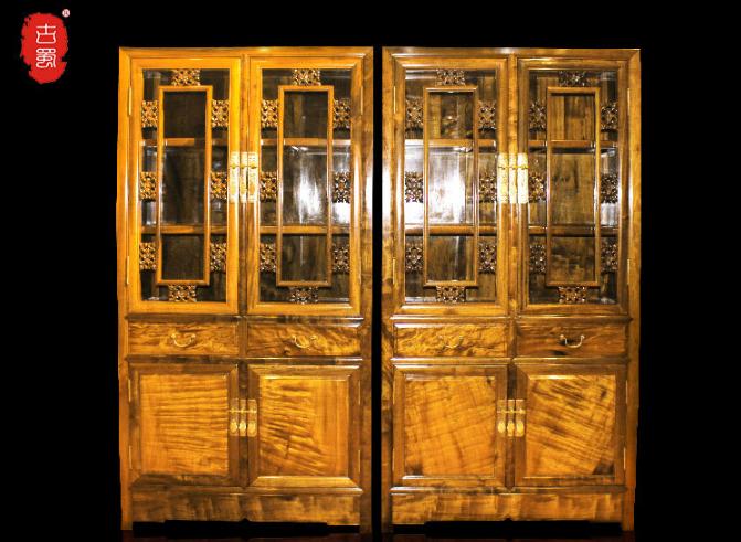 千年阴沉木 雕花书柜两件套 书房必备品 金丝楠乌木--四川古蜀诚林工艺品开发有限公司