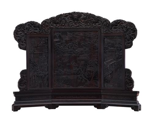 紫檀雕龙落地屏风_古典立式屏风_紫檀雕龙屏风定做--北京宣明典居古典家具厂