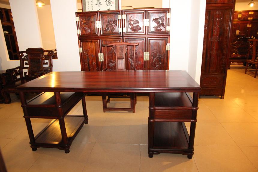 书房古典中式桌椅套装可定制--北京道鑫红木家具有限公司