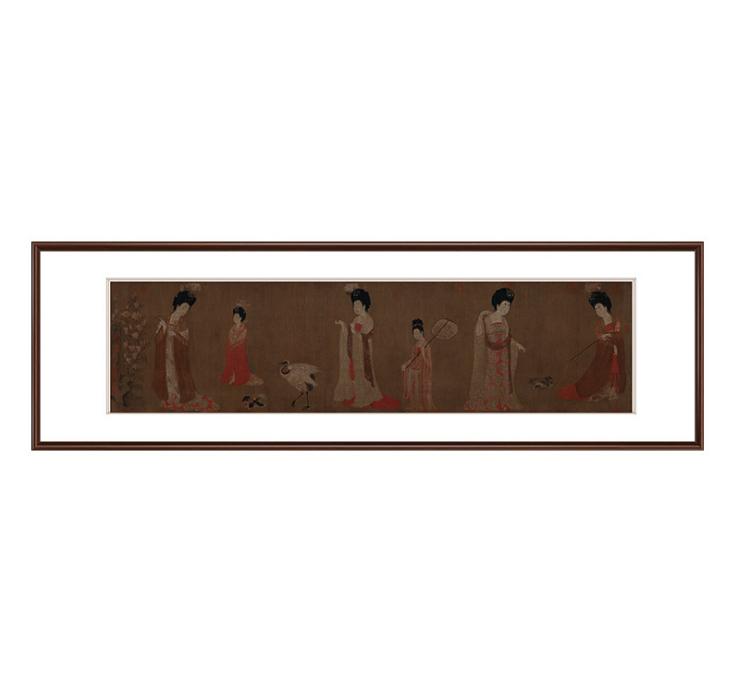 周昉仿簪花仕女图中式客厅装饰画人物画风景国画办公真批发--北京翔华阁文化发展有限公司