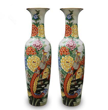 景德镇陶瓷器手绘锦鸡牡丹花鸟落地大花瓶现代客厅摆件开业礼品--东营市澎湃商贸有限公司