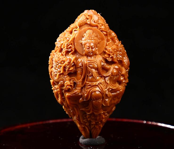 和善2.5大籽四花橄榄核雕刻九龙观音单粒 橄榄核胡单籽挂坠--正辉闻达(北京)文化传播有限公司
