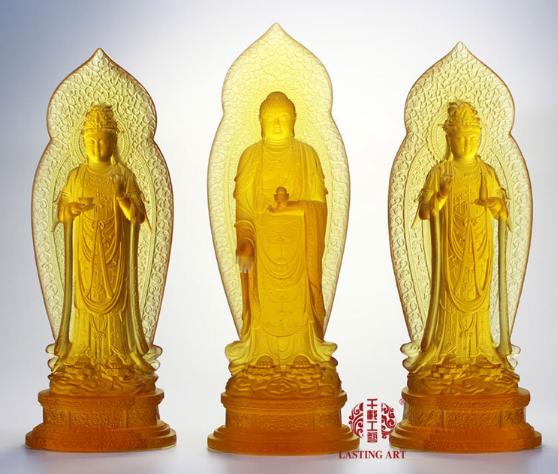 琉璃西方三圣40cm高 阿弥陀佛 观音 大势至菩萨佛像--北京千载商贸有限公司