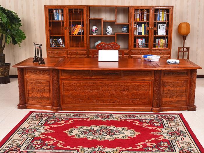 仿古家具榆木办公桌实木大班台老板桌书房组合中式古典写字台家用--嵊州市红祥古艺木雕加工厂