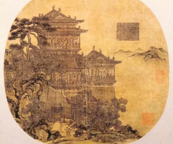 《岳阳楼图》,由元代画家夏永所画