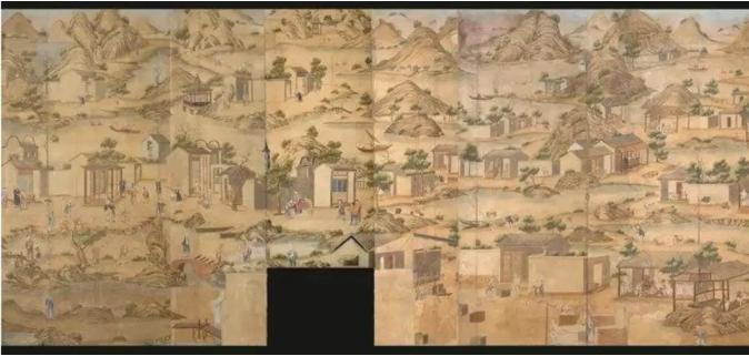 国家宝藏之《清乾隆农耕商贸图外销壁纸》