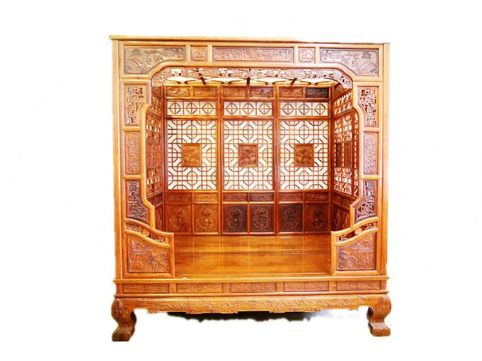 木雕实木木床展示_工艺展示_木雕作品展示