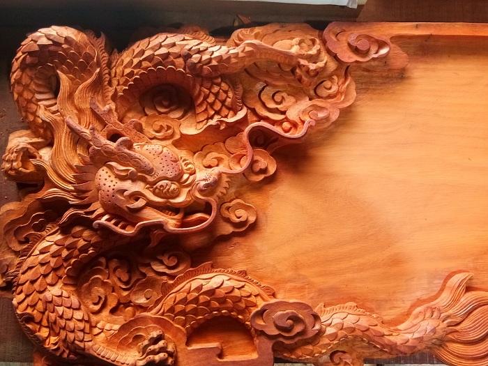 双龙图茶盘-- 江南木艺