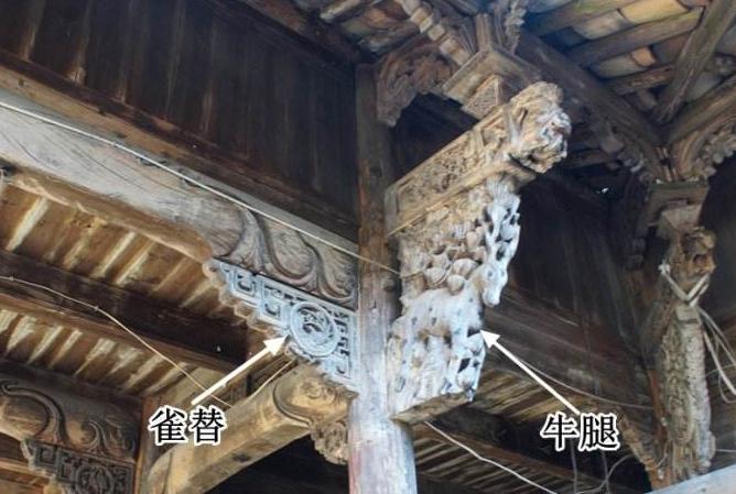 古建筑构件雀替与牛腿