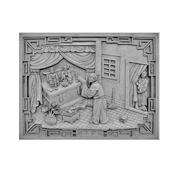 仿古砖雕中式挂件_古建砖雕装饰配件_砖雕图片_二十四孝之刻木事亲-- 河北晟秦古建园林工程有限公司