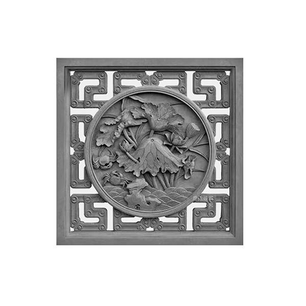 仿古砖雕中式挂件_古建砖雕装饰配件_砖雕图片_正方形镂空荷花