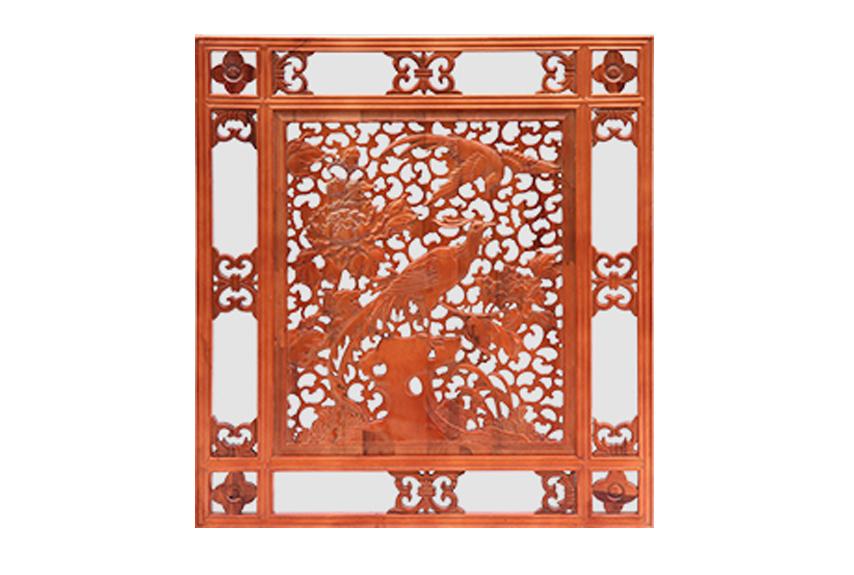 中式客厅电视背景墙木雕挂件