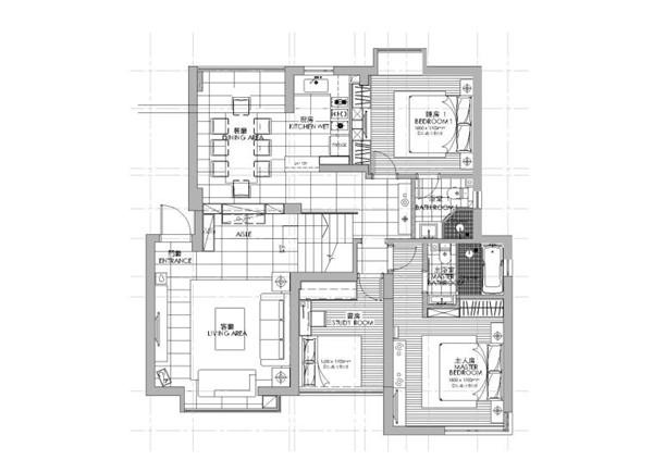 [福建]铭筑-厦门郑女士样板间CAD施工图+效果图