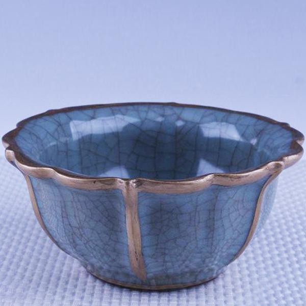 宋官窑汝瓷冰裂纹描金花卉纹碗-- 网店展示-古建中国
