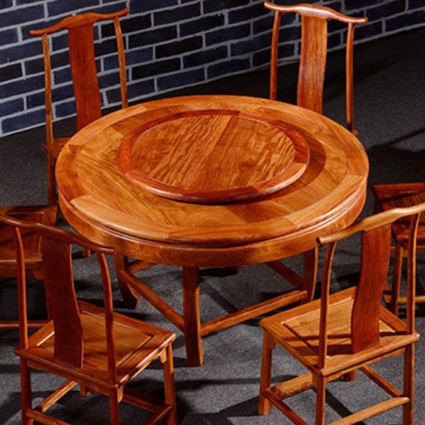 缅甸花梨木烫蜡红木家具饭桌新古典全实木圆形餐桌