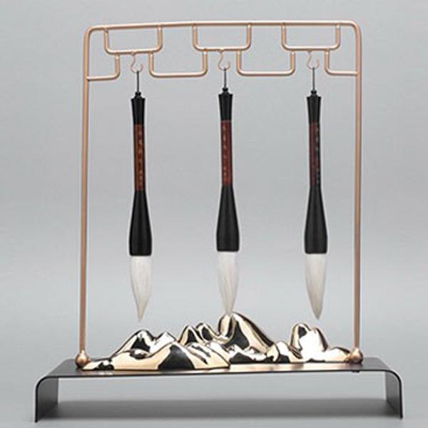 创意新中式毛笔装饰架子摆件玄关书房金属装饰品-- 网店展示-古建中国