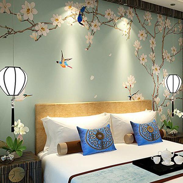 现代中式墙纸_3D客厅电视机背景墙壁纸_玉兰壁画家装墙布衣古典--网店展示-古建中国