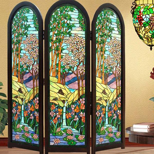 3联屏风厨房玄关隔断实木推拉门窗墙面灯片教堂彩色艺术玻璃   价格按平方计算-- 网店展示-古建中国