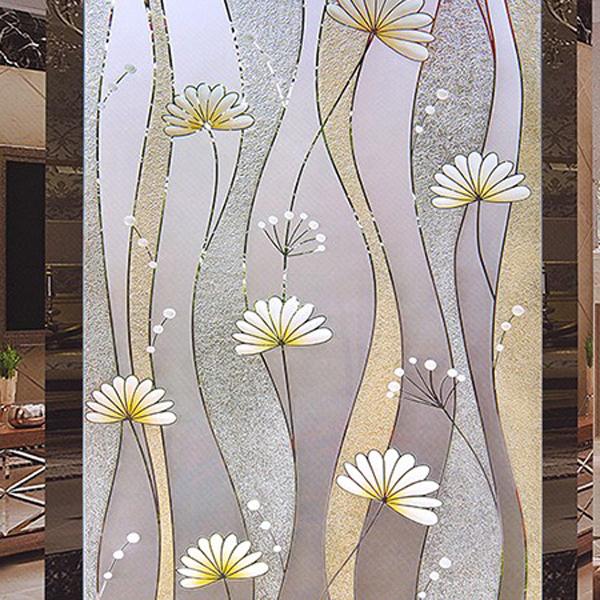 透明简约蒲公英雕花艺术玻璃背景墙-- 网店展示-古建中国