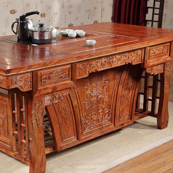 仿古榆木茶桌椅组合特价将军台功夫喝茶桌椅茶台--网店展示-古建中国
