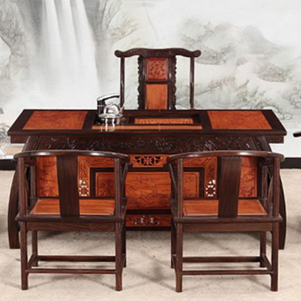 仿古红木家具 奢华中式红檀黑檀加巴花茶桌椅组合茶台--网店展示-古建中国