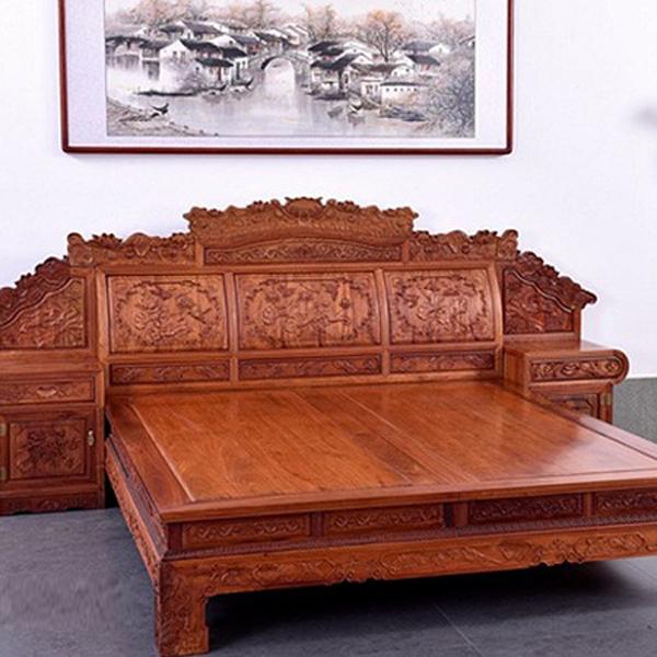 中式古典红木家具缅甸花梨花荷花高低床三件套卧室榻组合--网店展示-古建中国