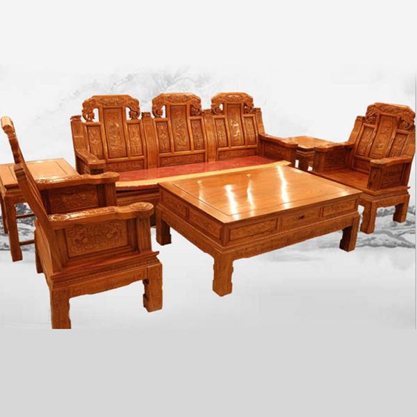 刺猬紫檀全实木中式仿古红木家具象头如意沙发组合客厅