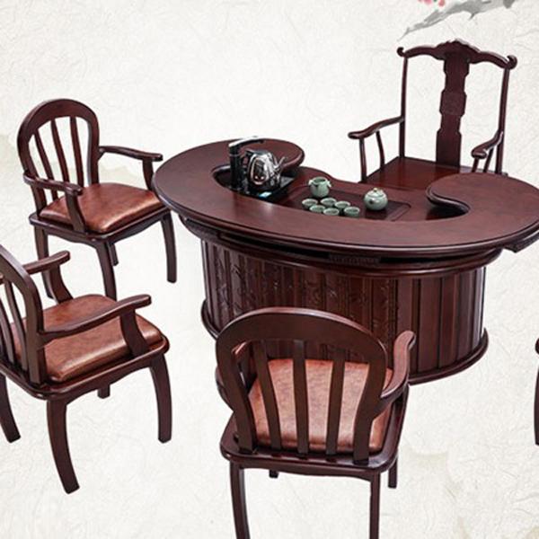 橡木中式实木茶台红木功夫泡鸟巢茶桌 实木仿古家具