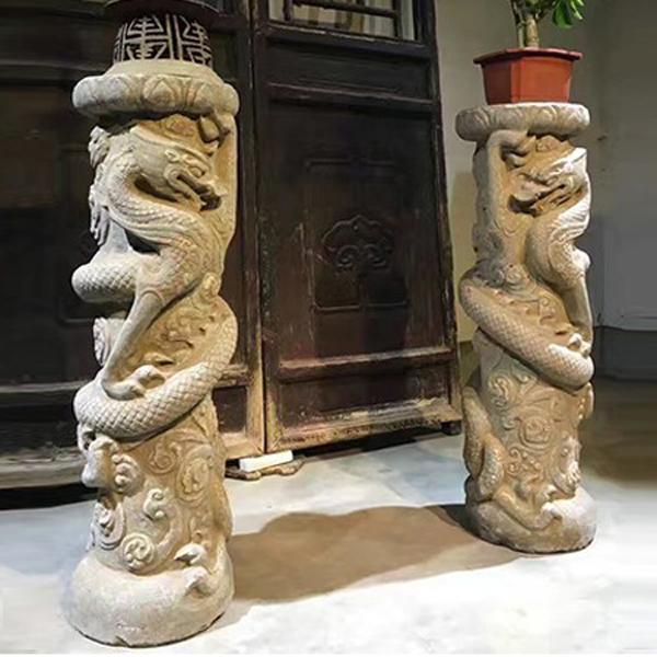 龙柱 雕刻精美 可做花几
