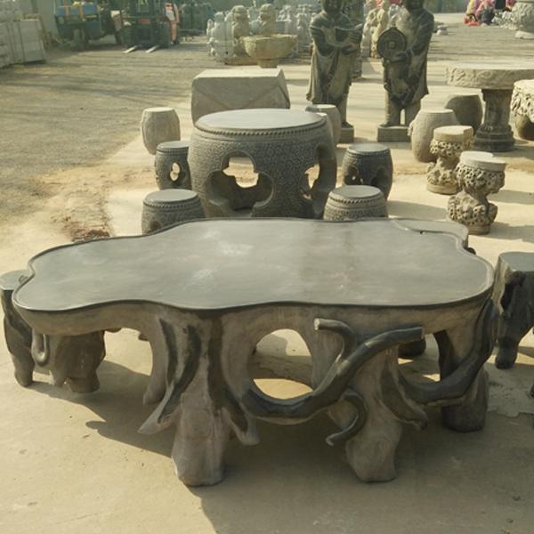 仿古石桌石凳价格_批发景观石桌雕刻_园林花岗岩石桌浮雕定制