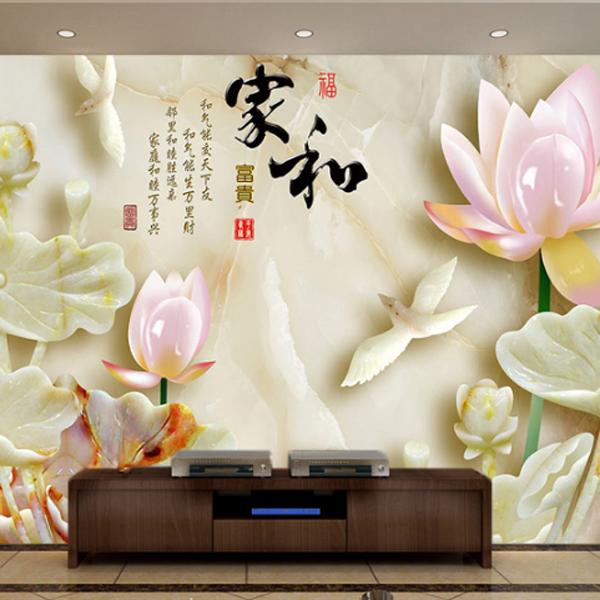 3D玉雕瓷砖复古背景墙_中式电视背景墙_雕刻玉石客厅背景墙