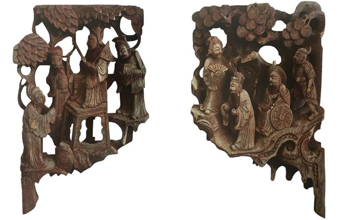 人物雕花架子床面构件