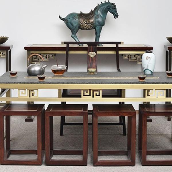 铜木结合,回字纹 大茶桌 办公 喝茶 家用--杭州君工金属制品有限公司
