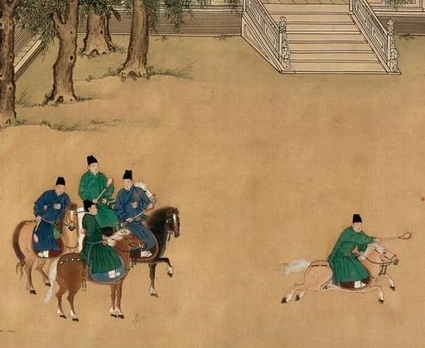 《明宣宗行乐图卷》中的马球场景
