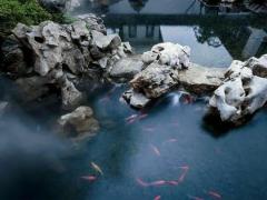 中国庭院中围墙和池塘的设计